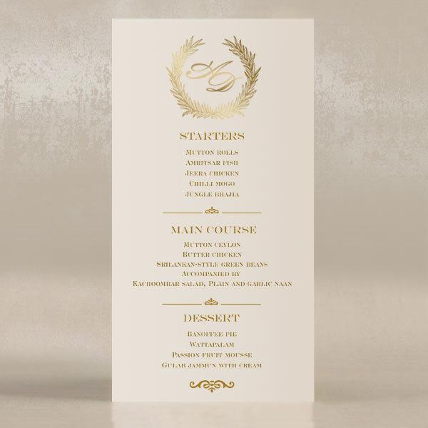 ba651a589255 Elegantné zlaté a slonovinové svadobné menu - Polina-Perri SK